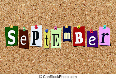The september magazine cutout letters pinned to cork noticeboard