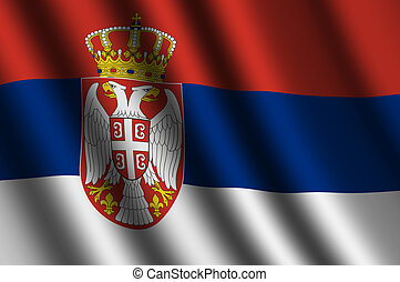 The Serbian flag flying in the wind.