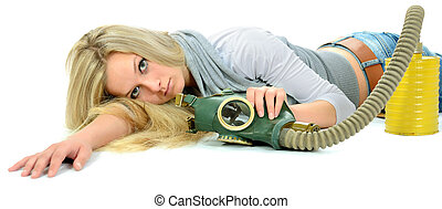 The serious girl with gas mask.
