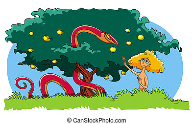 The Serpent tempts Eve to eat the forbidden Fruit from the Tree of knowledge of good and evil