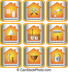 set icons with tools for house