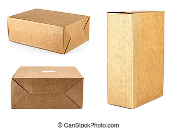 set of a cardboard boxes on white background