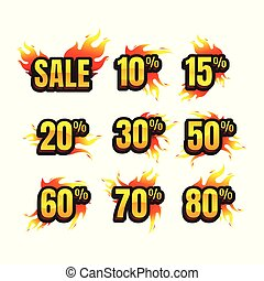The set of burning labels discount 10%. 15%. 20%. 30%. 50%. 60%. 70%. 80% and tags for hot sale. banner. marketing. Business. percent. on white background. vector