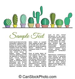 The set of cacti in pots and text