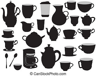 some hand drawing set of coffee pots and cups