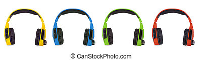 The Set of colored headphones isolated on white background