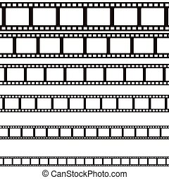 Set of curved photographic film. Film. Vector illustration