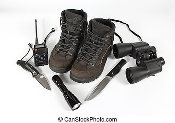 set of different items for Hiking