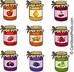 The set of hand-drawn jars with jam.