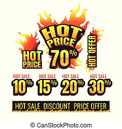The set of hot price burning labels discount 10%. 15%. 20%. 30%. 70% and tags for hot sale. banner. marketing. Business. percent. on white background. vector