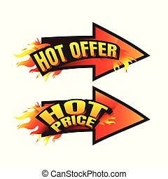 The set of hot price. hot offer burning labels discount 10%. 15%. 20%. 30%. 70% and tags for hot sale. banner. marketing. Business. percent. on white background. vector