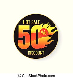 The set of hot sale 50% and tags for hot sale. banner. marketing. Business. percent. on white background. vector