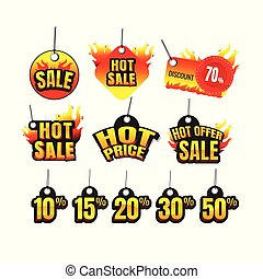 The set of hot sale. hot price. hot offer burning labels discount 10%. 15%. 20%. 30%. 50%. 70% and tags for hot sale. banner. marketing. Business. percent. on white background. vector
