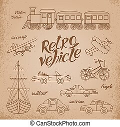 The set of images  transport in retro style.