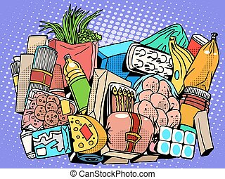 the set of products and food goods pop art retro style. Meat fish sausage greens vegetables fruit bananas onions cream butter milk yogurt eggs cheese pasta spaghetti potato canned food Bank