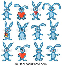 the set of rabbits on white background