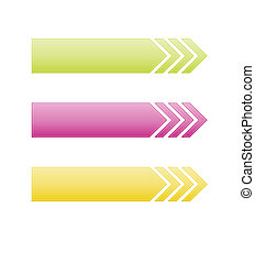The set of three arrows - The set of green, pink and yellow...