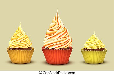 The set of three prize-winning cupcakes