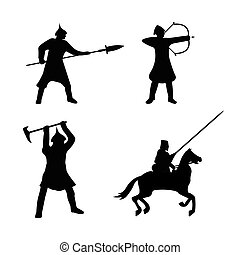 The Set of Warriors Silhouette on white background.