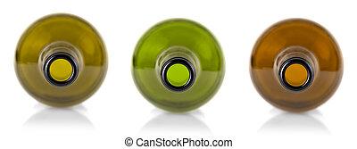 Set of White wine bottles isolated against a white background