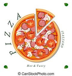 The set pizza - Vector logo illustration for pizzeria menu...