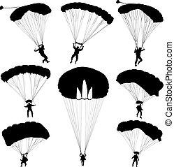Set skydiver, silhouettes parachuting vector