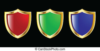 the set vector red blue and green shield