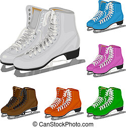 The set women's figure ice skate. Illustration in vector ...