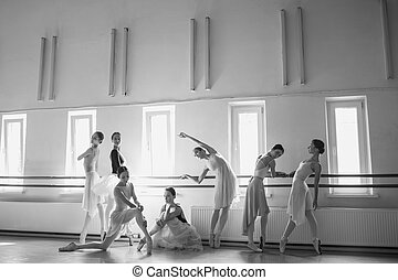 The seven ballerinas at ballet bar - Thr seven ballerinas at...