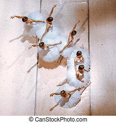 The seven ballerinas on floor - The top view of ballerinas...
