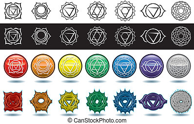 The seven yoga chakras - Four different renders of the seven...