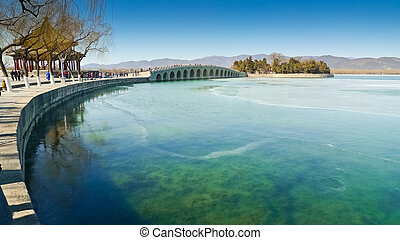 The Seventeen Arch Bridge over Kunming Lake in the Summer Palace complex, Beijing, China.
