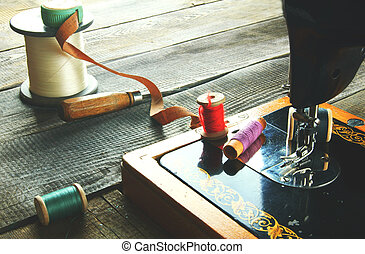 The sewing machine and tools. Vintage sewing .