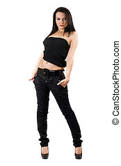 The sexy young woman in a black jeans. Isolated on white