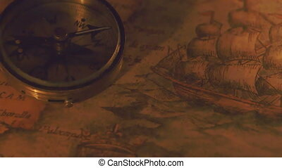 The shadow of the compass showing on the map