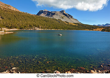 The shallow lake in the mountains