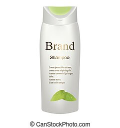 The shampoo is white with green leaves on white background isolate. 3D vector realistic