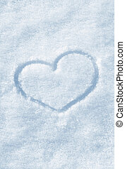 The shape of heart painted on the snow