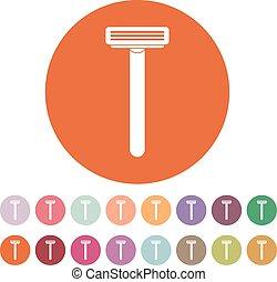 The shaving razor icon. Shaver symbol. Flat Vector...