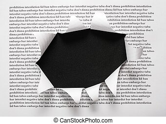 the sheet of paper with printing words and the cut hole...