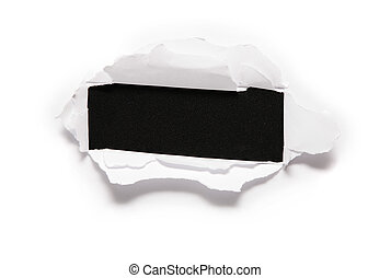 the sheet of paper with the rectangular hole against the black background 2