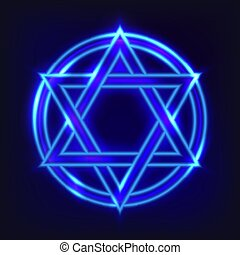 The shining hexagram. The ancient symbol in neon style...