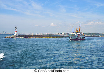 The ship carries passengers along the Bosporus Strait. - The...