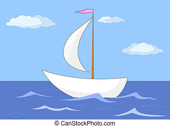 The ship floats in the sea
