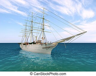 the ship is at sea in good weather