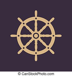 The ship steering wheel icon. Sailing symbol. Flat