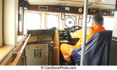 The ship's captain bridge - The ship's captain controls the...