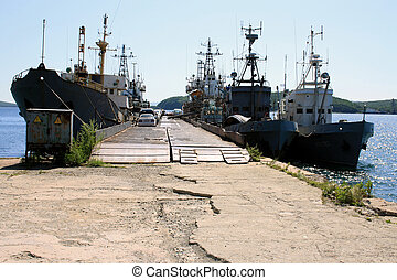 The ships in a bay at a mooring