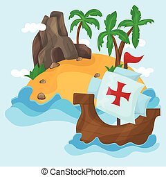 The ships of Christopher Columbus and Tropical Island with palms in ocean