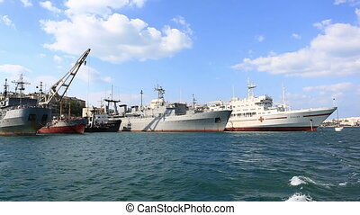 The ships of the Russian navy  stand on the anchor parking in the Southern bay